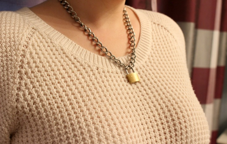 silver chanel padlock gold cc oversized necklace