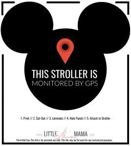 Printable Stroller Sign for Disneyland